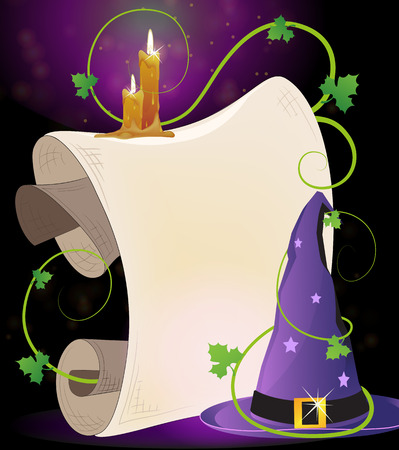 bewitchment: Witch hat with parchment and burning candles on a dark background