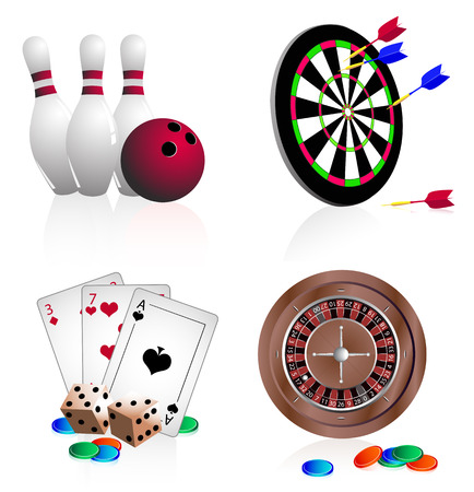 Bright vector icons gambling. Bowling, darts, cards, dice, roulette on white nackground Illustration