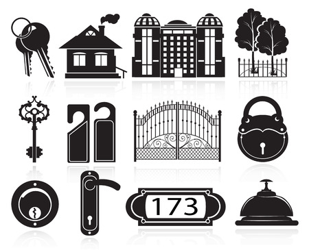 detached house: House and hotel symbols. Black icons on white background   Illustration