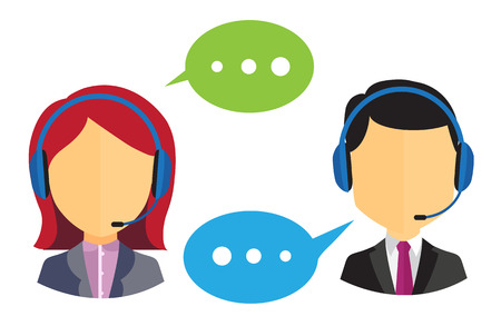 Male and female call center icons with headsets and speech bubbles on white background Illustration