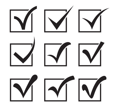 Nine checkbox icons different shapes on a white background