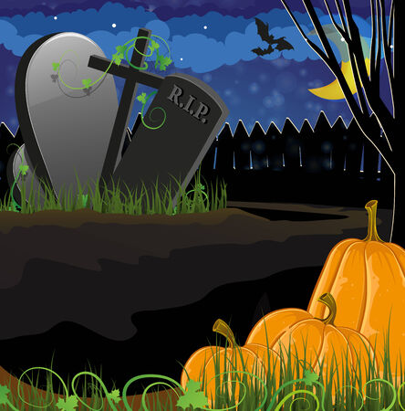 Ripe pumpkins near the graves in the cemetery. Halloween night scene Vector