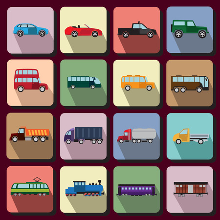 Set of flat icons with vehicles of different types Vector