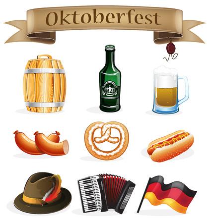 bbq barrel: Oktoberfest symbols on a white background Illustration