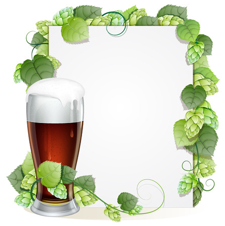 Glass of beer with foam cap and white background decorated with green hops branch.Abstract Oktoberfest background