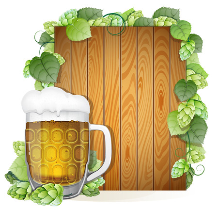 Glass of beer with foam cap on a wooden background decorated with green hops branch. Abstract Oktoberfest background Vector