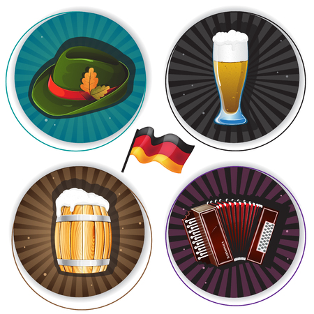 Glass of beer, accordion, hat and barrel on round striped backgrounds. Labels with Oktoberfest Symbols Vector