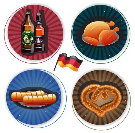 Beer bottles, roast chicken, sausages and pretzel on round striped backgrounds. Labels with Oktoberfest Symbols Vector