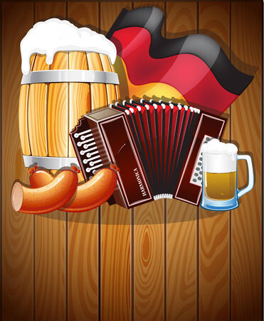 bbq barrel: Harmonica, beer barrel, glass, delicious sausages and a German flag on a wooden background. Abstract Oktoberfest  background
