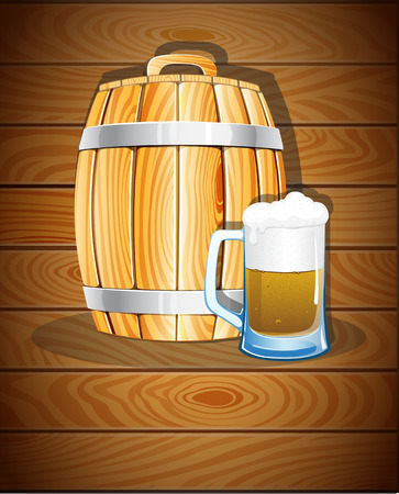 iron hoops: Wooden barrel with iron hoops and a glass of beer on a wooden background. Abstract Oktoberfest  background