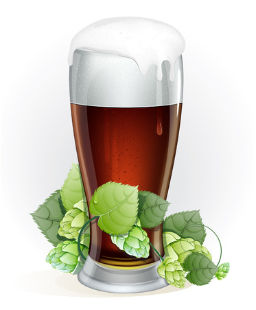 Glass of dark beer with a cap of foam and branch of hop with leaves on a white background Vector