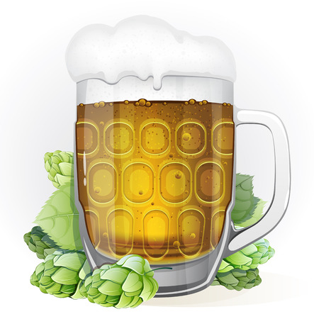 Mug of lager beer with a cap of foam and green hop cones with leaves on a white background Vector
