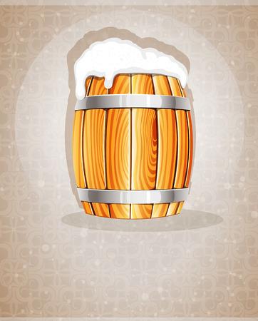 vat: Beer foam flows from the open wooden barrel