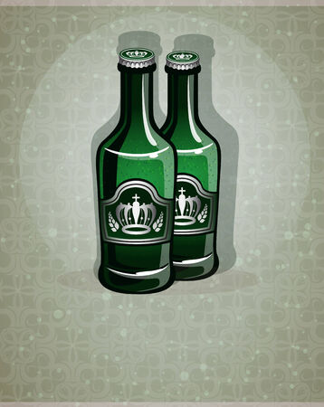 small group of objects: Two glass bottles with beer on an abstract background Illustration