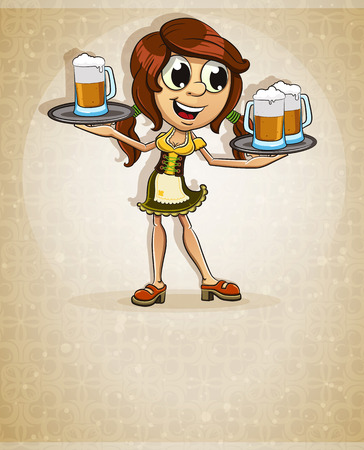 brown haired girl: Oktoberfest  brown-haired girl in traditional costume with a glasses of beer on abstract background Illustration