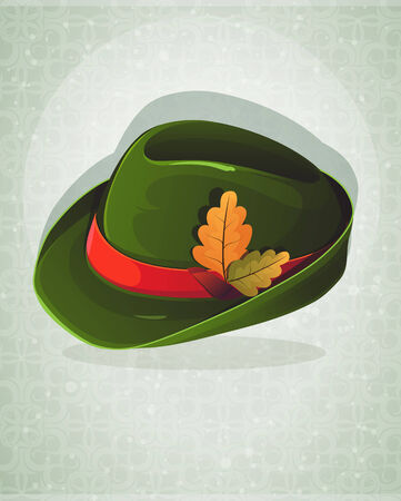 German Alpine Oktoberfest hat with oak leaves on an abstract background