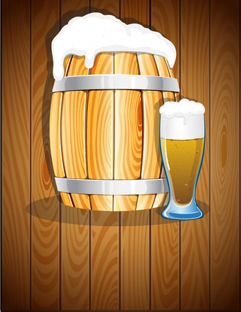 iron hoops: Open wooden barrel with iron hoops and a glass of beer on a wooden background. Abstract Oktoberfest  background Illustration