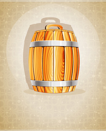 Wooden barrel with iron hoops on a beige background