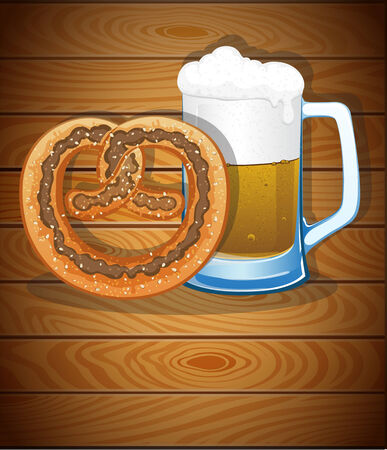 Pretzel and beer mug on the wooden background. Abstract Oktoberfest  background Vector