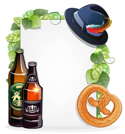Beer bottles, pretzel, and Oktoberfest hat on white background decorated with green hops. Abstract Oktoberfest background Vector