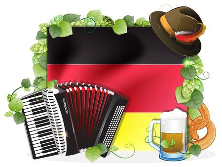 オクトーバーフェスト帽子、アコーディオン、ビール ジョッキ、ドイツの旗の背景にプレッツェル緑ホップで飾られました。