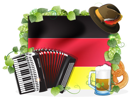 Oktoberfest hat, accordion, beer mug and a pretzel on the background of the German flag, decorated with green hops