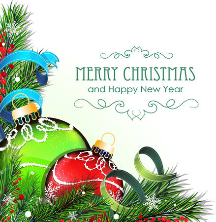 Christmas ornaments with tinsel and fir tree branches on white background Vector