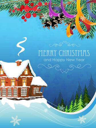 idyllic: Brick cottage with a smoking chimney among pine forest . Idyllic winter scene. Illustration