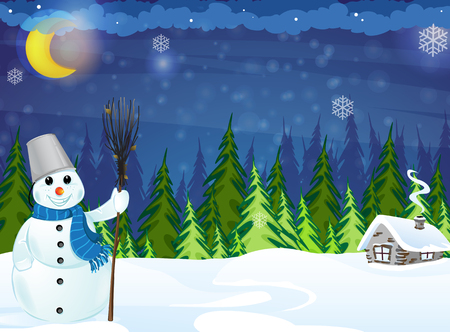 Cheerful snowman with broom and a small house in a pine forest Vector