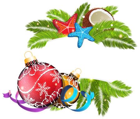 ヒトデ、ココナッツのクリスマスの装飾とヤシの枝。熱帯のクリスマス背景 写真素材 - 33882522