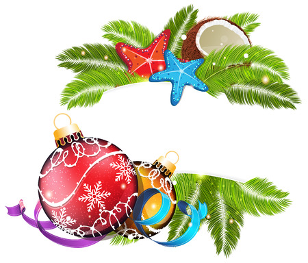 Palm branches with starfish, coconut and Christmas decorations. Tropical Christmas background