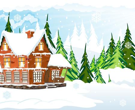 idyllic: Brick cottage with a smoking chimney among pine wood.  Idyllic winter scene. Illustration
