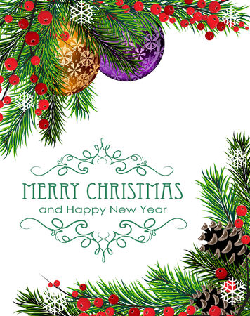 Christmas baubles, cones, berries and fir tree branches on white background Vector