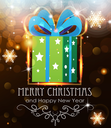 Green Christmas Gift on abstract background with sparkling lights Vector