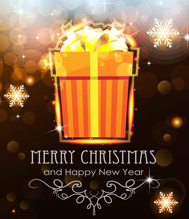 Orange Christmas Gift on abstract background with sparkling lights Vector