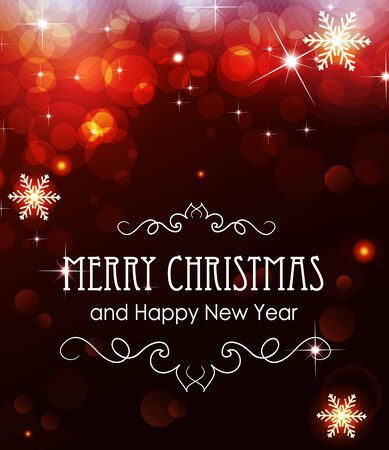 silver background: Red Christmas and New Year background with sparkles and snowflakes