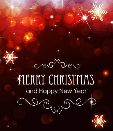 fond de texte: Rouge No�l et Nouvel An de fond avec des �tincelles et des flocons de neige Illustration