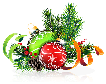 winterberry: Christmas baubles with ribbon and fir tree branches on white background