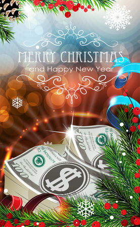 Abstract holiday background with sparkles, money and fir branches Vector