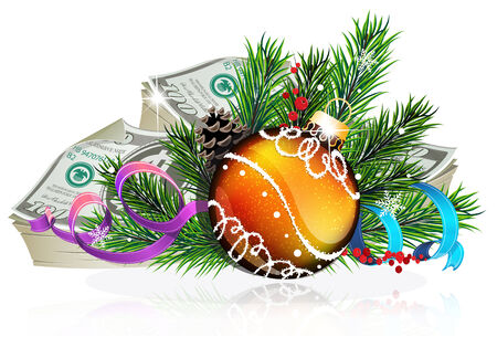 winterberry: Christmas bauble with money and fir tree branches on white background