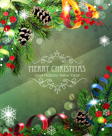 Abstract Christmas background with sparkles, ribbons, fir branches and cones Vector