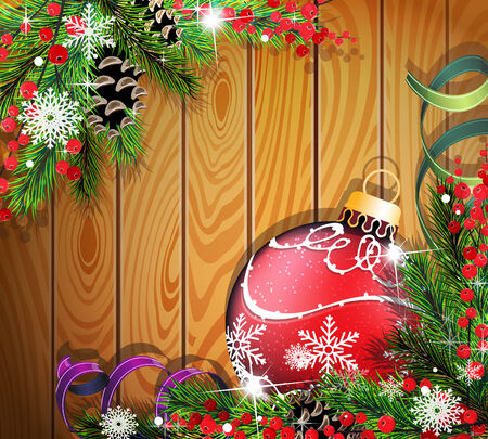 Red Christmas ball, cones, berries and fir tree branches on wooden background Vector