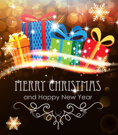 Bright Christmas presents on abstract background with sparkling lights Illustration