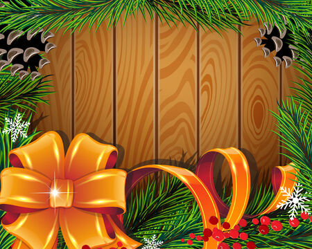 Pine branches, bow, ribbons and red berries on wooden background Vector