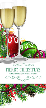 Two glasses of champagne, Christmas ribbons and fir tree branches on white background Vector