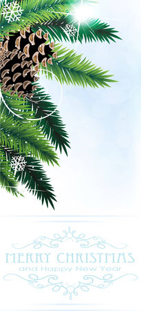 christmas tree decorations: Pine branches with cones on a blue background