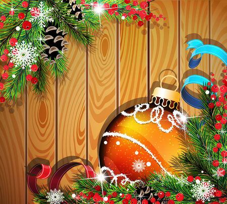 Orange Christmas ball, cones, berries and fir tree branches on wooden background