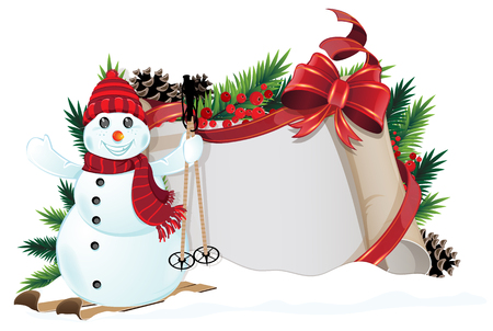 Snowman, bow, ribbons and Christmas wreath with old parchment on white background Vector