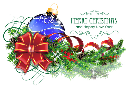 Christmas ornaments with bow, ribbon and fir tree branches on white background