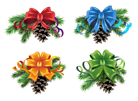 Set of Christmas decorations with pine branches, cones and bows on white background Illustration
